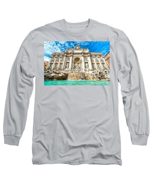 Trevi Fountain - Rome Long Sleeve T-Shirt by Luciano Mortula