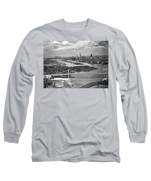 Triborough Bridge Is Completed Long Sleeve T-Shirt by Underwood Archives