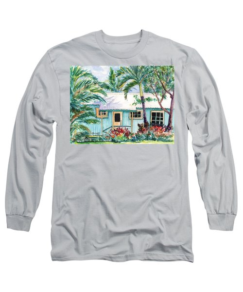 Long Sleeve T-Shirt featuring the painting Tropical Vacation Cottage by Marionette Taboniar