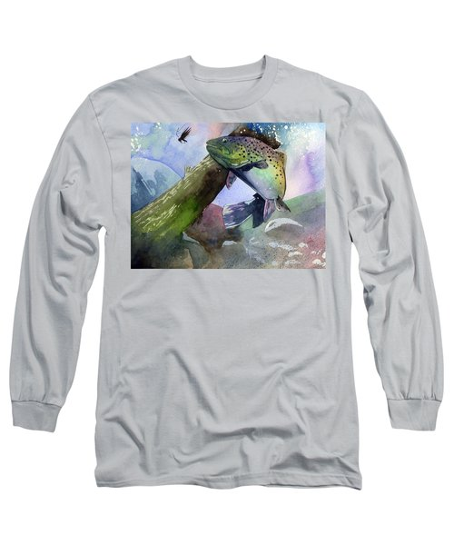 Trout And Fly Long Sleeve T-Shirt