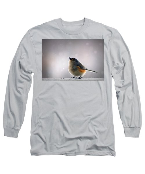 Tufted Titmouse Long Sleeve T-Shirt by Cricket Hackmann
