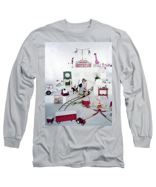 Two Children Playing With Vintage Toys Long Sleeve T-Shirt