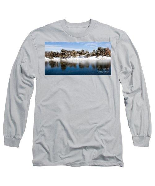 Urban Pond In Snow Long Sleeve T-Shirt