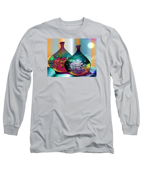 Long Sleeve T-Shirt featuring the drawing Vases In The Moonlight by Iris Gelbart