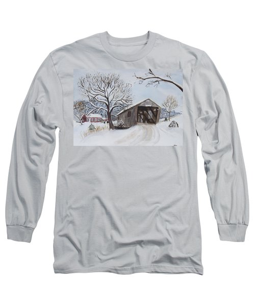 Vermont Covered Bridge In Winter Long Sleeve T-Shirt