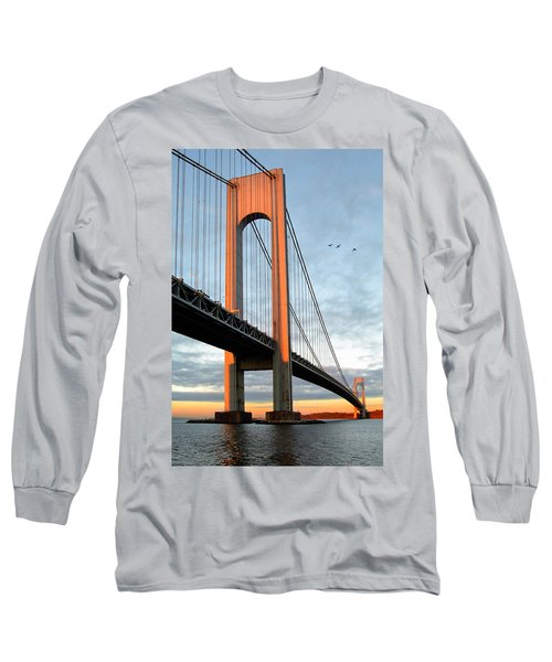 Long Sleeve T-Shirt featuring the photograph Verrazano Bridge At Sunrise - Verrazano Narrows by Gary Heller