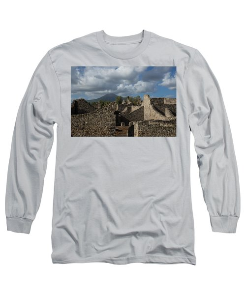 Vesuvius Towering Over The Pompeii Ruins Long Sleeve T-Shirt