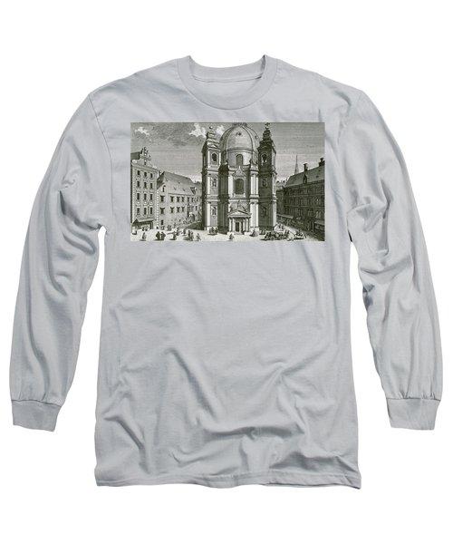 View Of The Peterskirche, Vienna Engraved By Johann Bernard Hattinger Long Sleeve T-Shirt