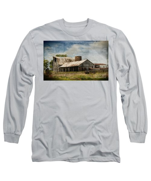 Barn -vintage Barn With Brick Silo - Luther Fine Art Long Sleeve T-Shirt
