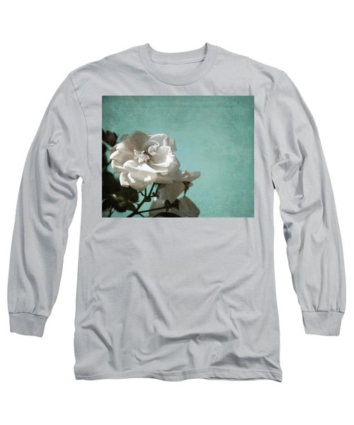 Long Sleeve T-Shirt featuring the photograph Vintage Inspired White Roses On Aqua Blue Green - by Brooke T Ryan