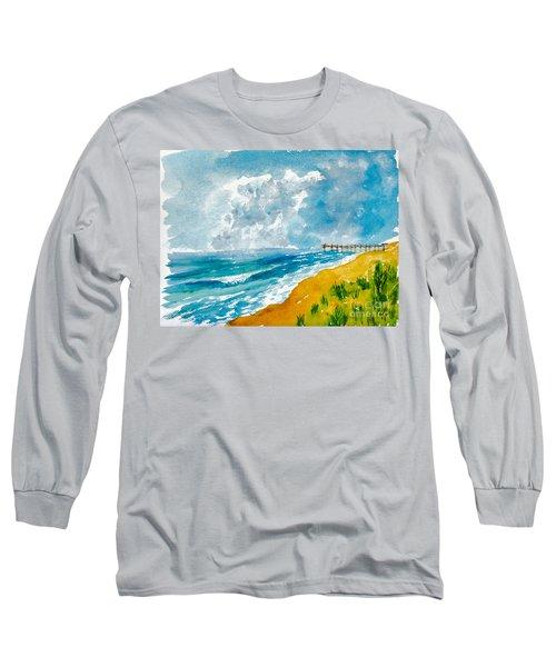 Virginia Beach With Pier Long Sleeve T-Shirt