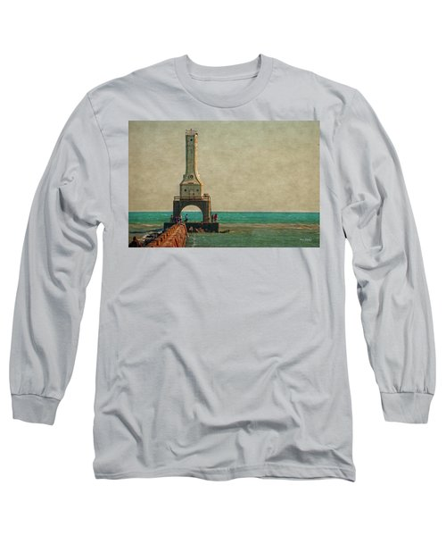 Walking On The Breakwater Long Sleeve T-Shirt by Mary Machare