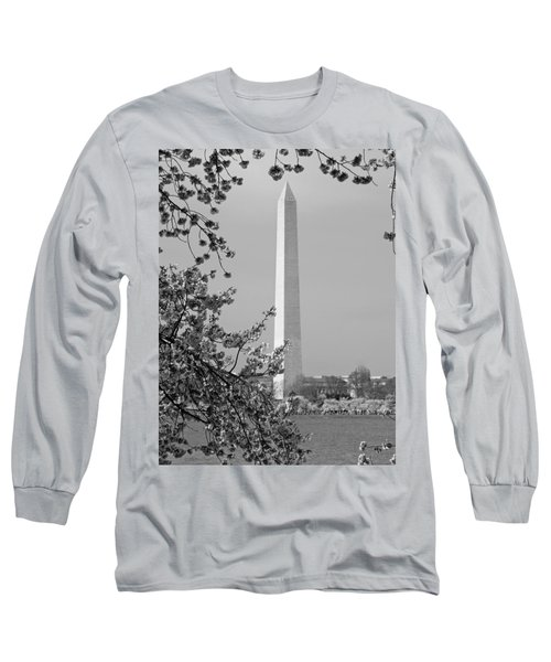 Washington Monument And Cherry Blossoms In April Long Sleeve T-Shirt