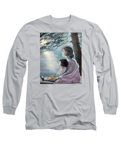 Long Sleeve T-Shirt featuring the painting Watching The Moon by Donna Tucker