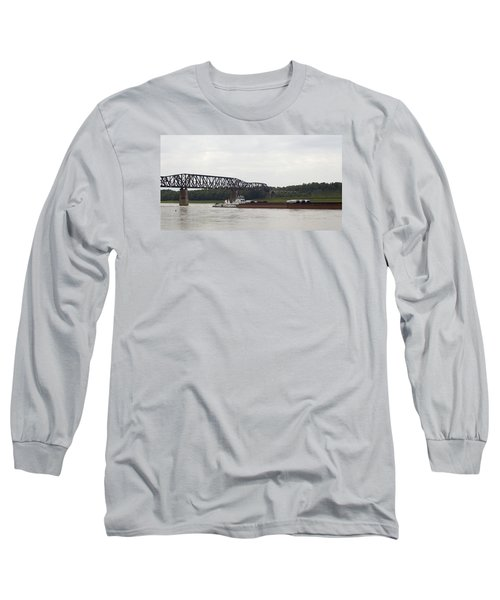 Long Sleeve T-Shirt featuring the photograph Water Under The Bridge - Towboat On The Mississippi by Jane Eleanor Nicholas