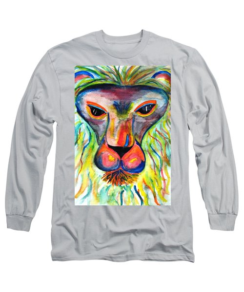 Watercolor Lion Long Sleeve T-Shirt by Angela Murray