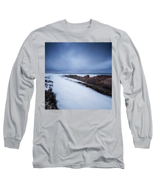 Waves Crash Over Tidal Rocks At Dusk Long Sleeve T-Shirt