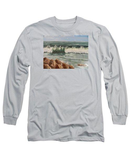 Waves Crashing Long Sleeve T-Shirt by Pamela  Meredith