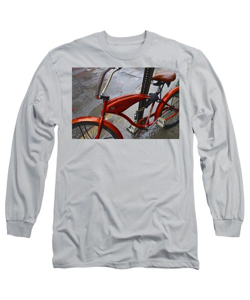 Wet Orange Bike   Nyc Long Sleeve T-Shirt by Joan Reese