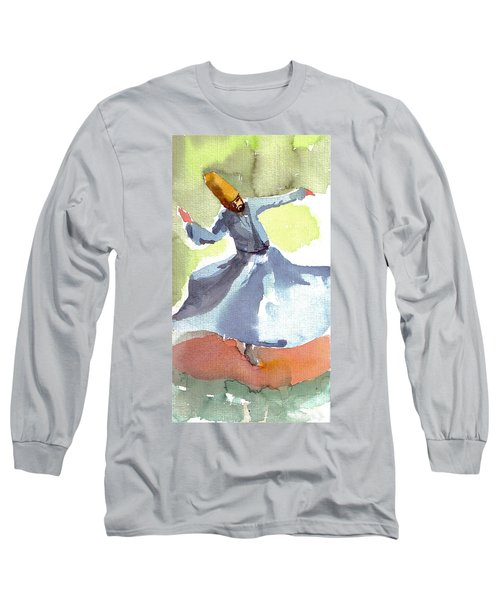 Long Sleeve T-Shirt featuring the painting Whirling Dervish by Faruk Koksal