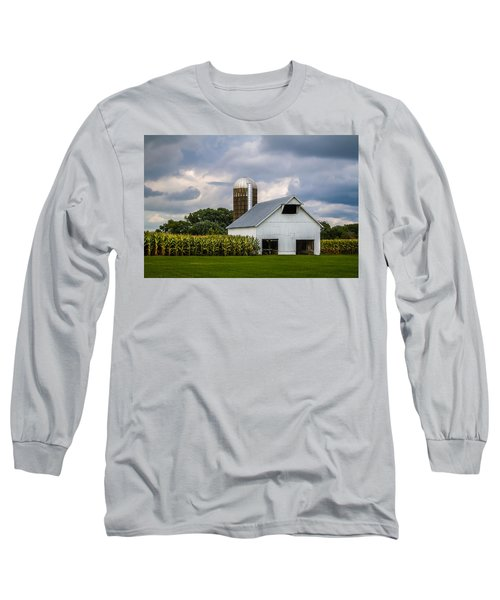 White Barn And Silo With Storm Clouds Long Sleeve T-Shirt