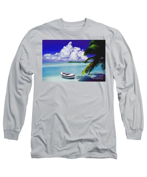 Long Sleeve T-Shirt featuring the painting White Boat On A Tropical Island by David  Van Hulst