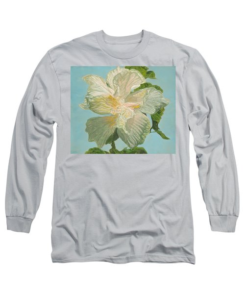 White Hibiscus Long Sleeve T-Shirt