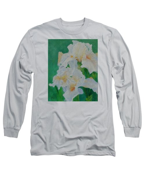 White Irises Original Oil Painting Iris Cluster Beautiful Floral Art Long Sleeve T-Shirt by Elizabeth Sawyer