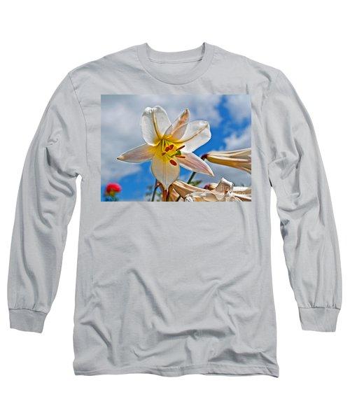 White Lily Flower Against Blue Sky Art Prints Long Sleeve T-Shirt by Valerie Garner