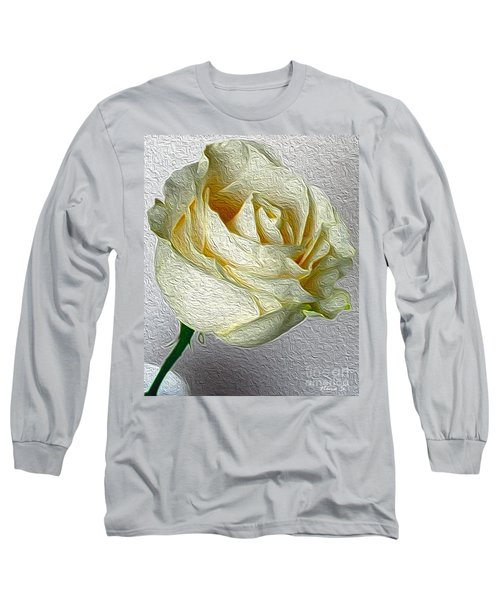 Long Sleeve T-Shirt featuring the photograph White Rose In Oil Effect by Nina Silver
