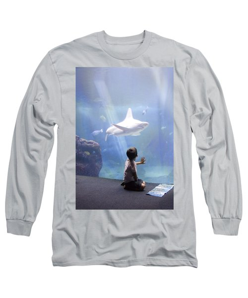 White Shark And Young Boy Long Sleeve T-Shirt