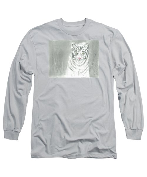 White Tiger Long Sleeve T-Shirt by David Jackson