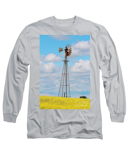 Long Sleeve T-Shirt featuring the photograph Windmill In Canola Field by Ann E Robson
