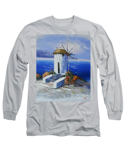Windmill In Greece Long Sleeve T-Shirt