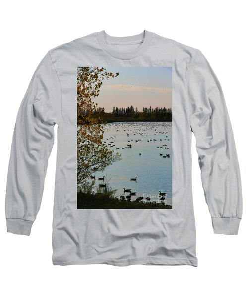 Long Sleeve T-Shirt featuring the photograph Winter Escape Gathering by Teresa Zieba