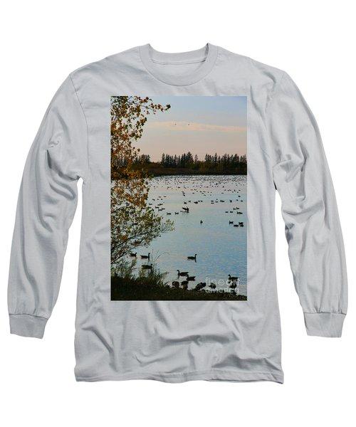 Winter Escape Gathering Long Sleeve T-Shirt by Teresa Zieba