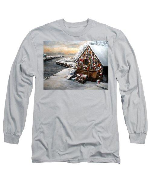 Winter Ipswich Bay Wooden Buoys  Long Sleeve T-Shirt by Eileen Patten Oliver