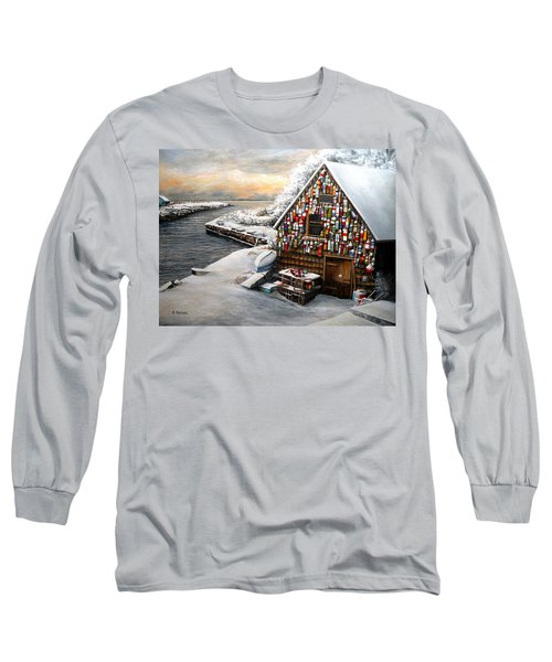 Winter Ipswich Bay Wooden Buoys  Long Sleeve T-Shirt