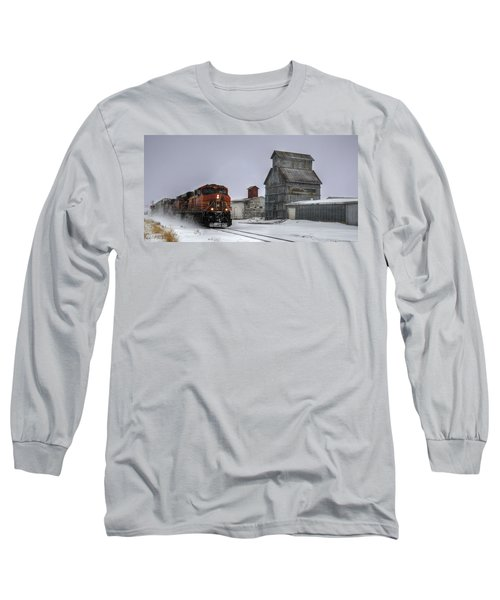 Winter Mixed Freight Through Castle Rock Long Sleeve T-Shirt by Ken Smith