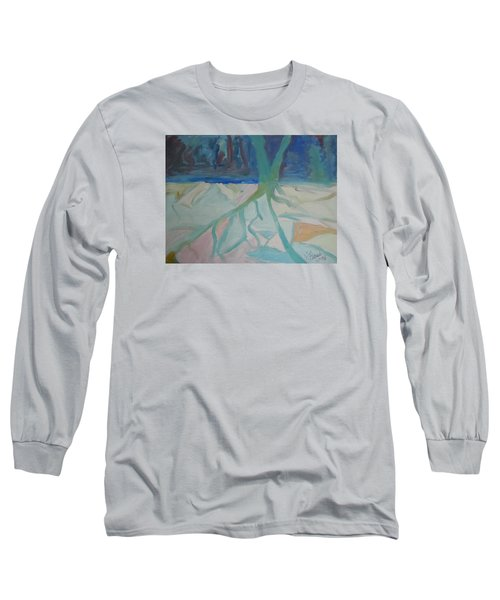Long Sleeve T-Shirt featuring the painting Winter Night Shadows by Francine Frank
