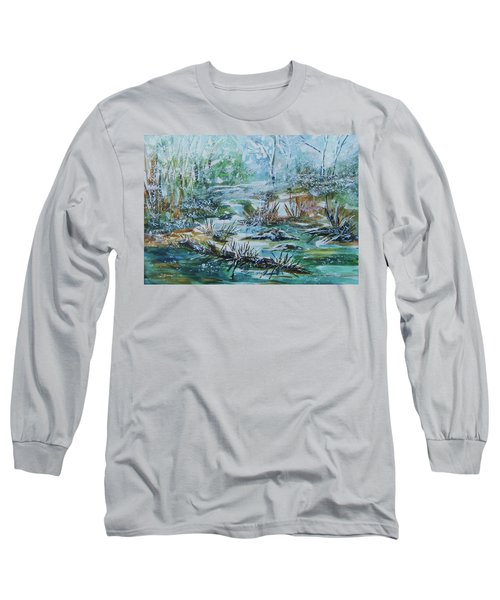 Long Sleeve T-Shirt featuring the painting Winter Whispers On Catskill Creek by Ellen Levinson