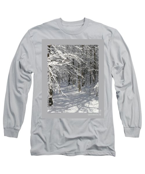 Wintery Woodland Shadows Long Sleeve T-Shirt by Patricia Overmoyer
