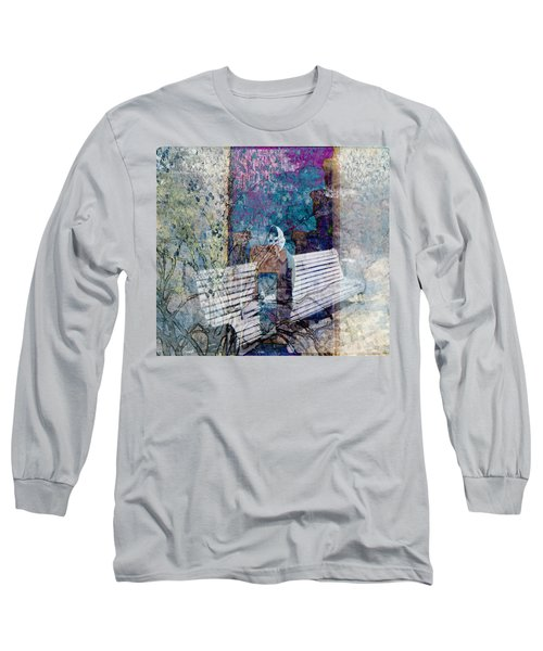 Long Sleeve T-Shirt featuring the digital art Woman On A Bench by Cathy Anderson