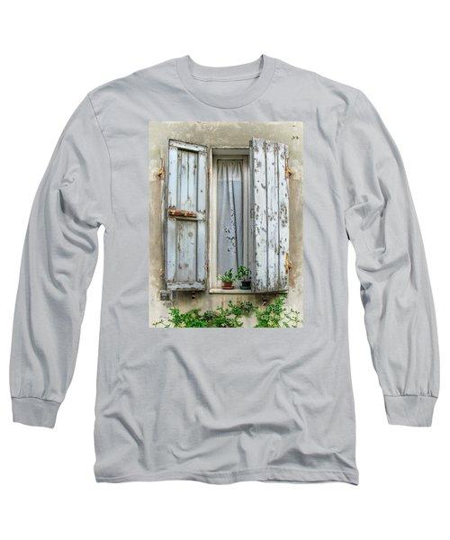 Wooden Shutters In Urbino Long Sleeve T-Shirt by Jennie Breeze