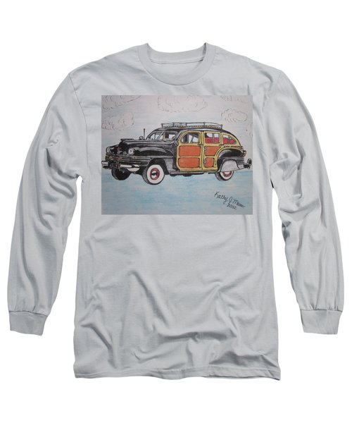 Long Sleeve T-Shirt featuring the painting Woodie Station Wagon by Kathy Marrs Chandler