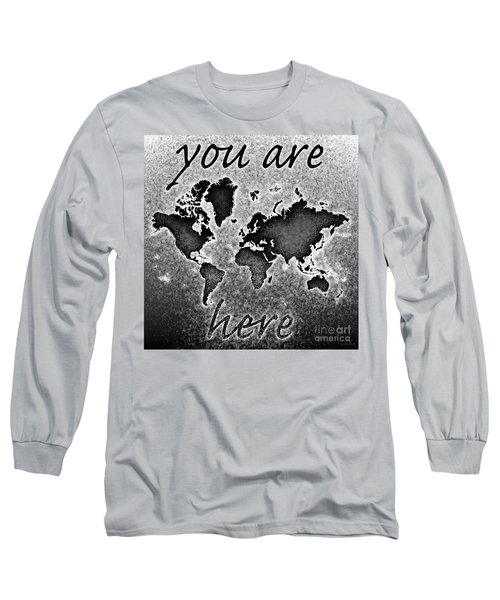 World Map You Are Here Novo In Black And White Long Sleeve T-Shirt by Eleven Corners