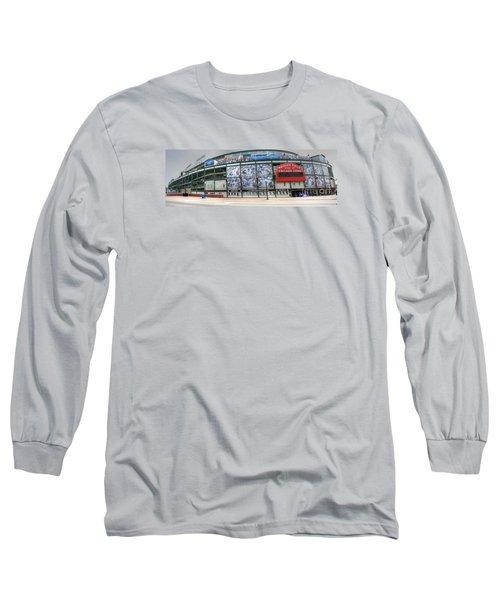 Wrigley Field On Clark Long Sleeve T-Shirt by David Bearden