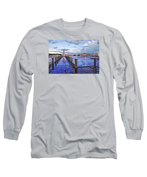 Yacht And Beach Club Lighthouse Long Sleeve T-Shirt by Thomas Woolworth