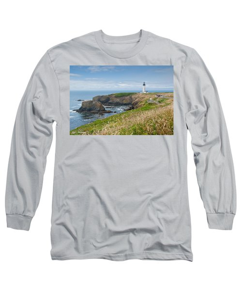 Yaquina Head Lighthouse Long Sleeve T-Shirt by Jeff Goulden