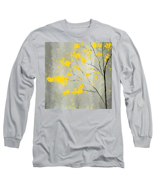 Yellow Foliage Impressionist Long Sleeve T-Shirt by Lourry Legarde